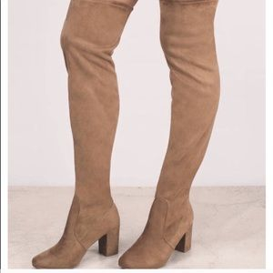 Shoes - KIARA SUEDETTE CAMEL HEELED BOOT